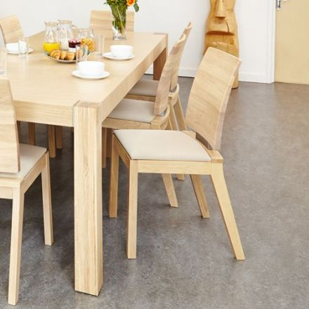 Olten Uno Light Oak Dining Chair - Ivory (Pack of Two)